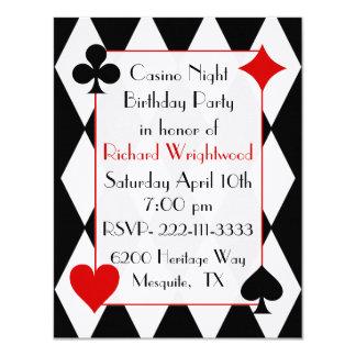 "Casino Night Custom Birthday Invitation 4.25"" X 5.5"" Invitation Card"