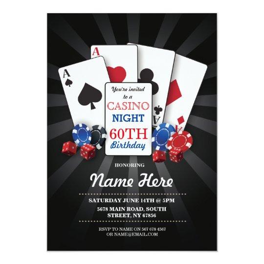 Casino Night Las Vegas Birthday Invitation Party Zazzle Com