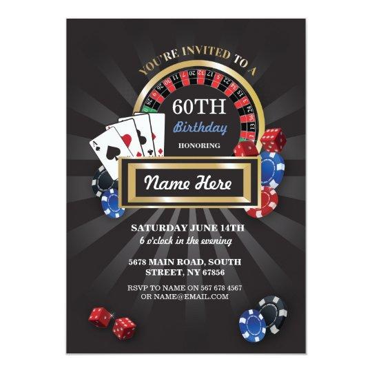 Casino Night Las Vegas Birthday Invite Party Zazzlecom