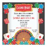 """Casino Night Party Event Invitation 5.25"""" Square Invitation Card"""