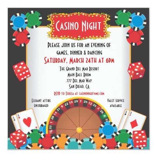 casino night party event invitation. Black Bedroom Furniture Sets. Home Design Ideas