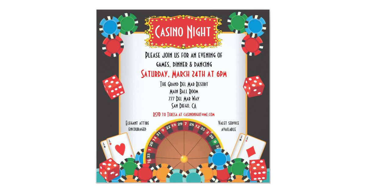 Casino Night Party Event Invitation | Zazzle.com