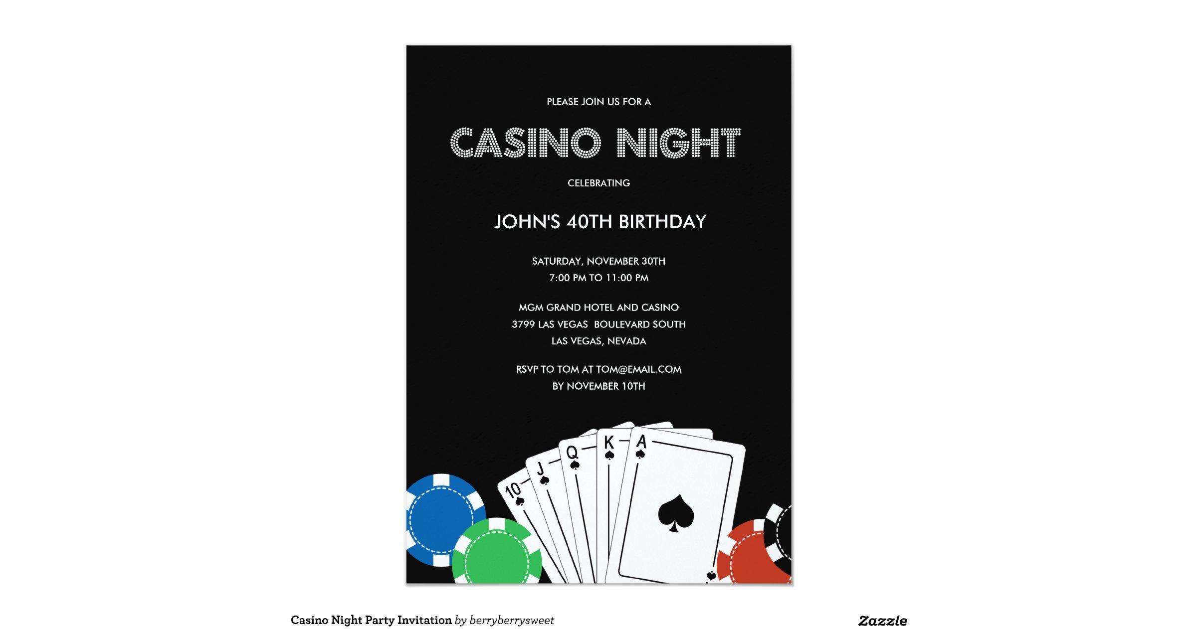 Casino night invitations wording / Kral oyunda poker oyna