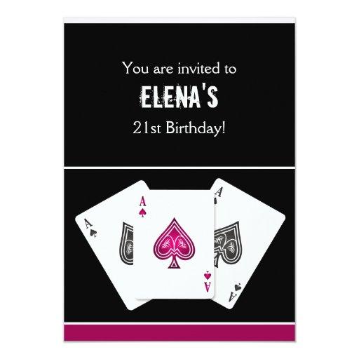 "Casino night party Invitation pink 5"" X 7"" Invitation Card"
