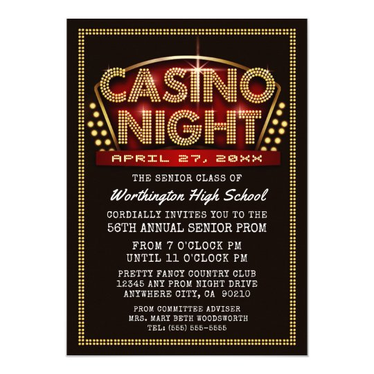 Casino Night Party Themed Prom Invitations Zazzlecom