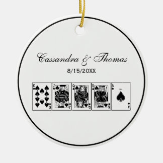 Casino Night Poker Royal Straight Flush Spades Ceramic Ornament