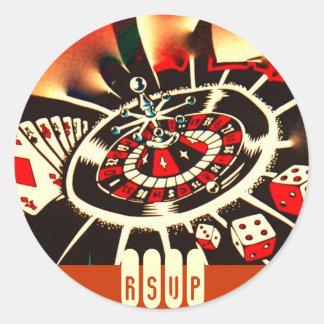 Casino Party RSVP Classic Round Sticker
