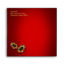 Casino Party square custom | red gold Envelopes
