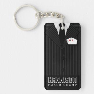 Casino Poker Champ Rectangle Double Sided Keyring