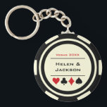 """Casino Poker Chip Black Off-White Wedding Favor Keychain<br><div class=""""desc"""">Getting married in Las Vegas or maybe you"""