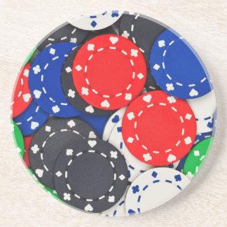 Casino poker chips beverage coaster