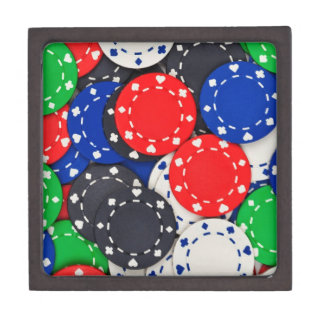 Casino poker chips keepsake box