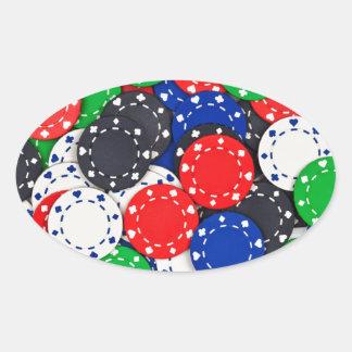 Casino poker chips oval sticker