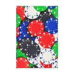 Casino poker chips stretched canvas prints