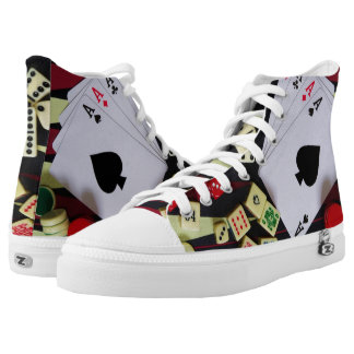 Casino poker gambling and ace of spades High-Top sneakers