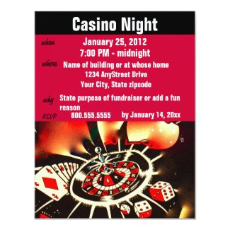 Casino Poker Night Party Invitation