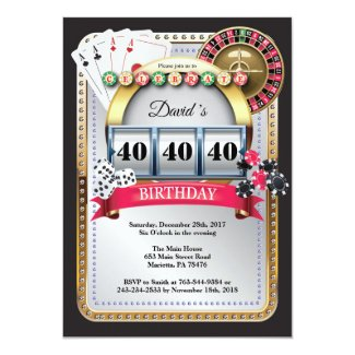 Casino Poker Playing Card Birthday Invitation