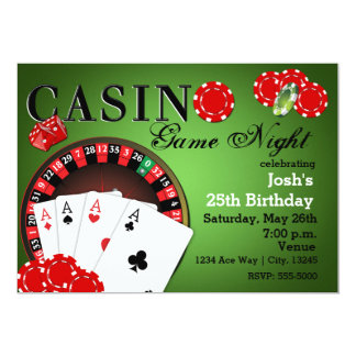 "CASINO Poker Vegas Party Birthday Invitations 5"" X 7"" Invitation Card"