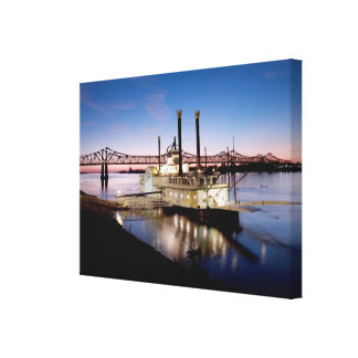 Casino Riverboat at Dusk Stretched Canvas Prints