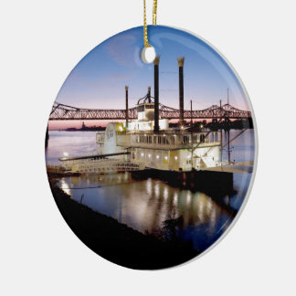 Casino Riverboat at Dusk Ceramic Ornament