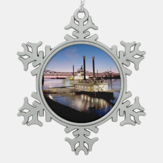 Casino Riverboat at Dusk Snowflake Pewter Christmas Ornament