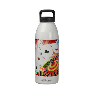 casino roulette and gambling reusable water bottle