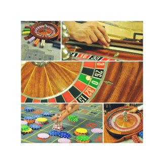 casino roulette table game collage croupier canvas prints