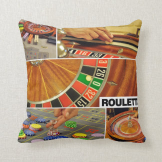 casino roulette table game collage croupier pillows