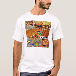 casino roulette table game collage croupier T-Shirt