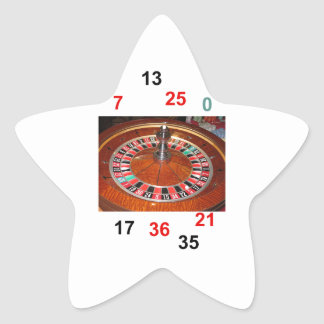 Casino Roulette wheel and lucky numbers Star Sticker