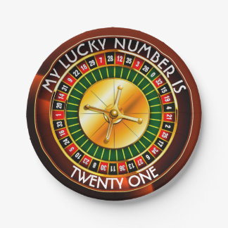 Casino Roulette Wheel With Your Lucky Number Paper Plate