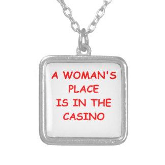 casino square pendant necklace