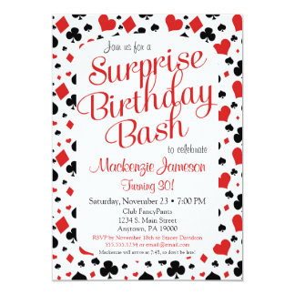 Casino Surprise Party Invitation Poker Vegas Game