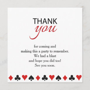Casino Thank You Cards Zazzle