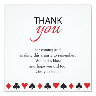 Casino Vegas Poker Texas Party Thank You Card