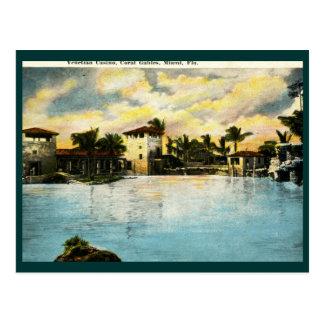 Casino veneciano, Coral Gables, vintage de FL Postal