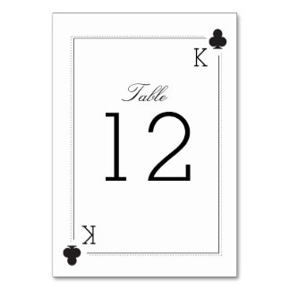 Casino Wedding Table Number Card - Clubs Table Cards