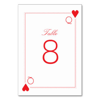 Casino Wedding Table Number Card - Hearts