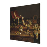 Casket of jewels on a table stretched canvas prints