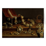 Casket of jewels on a table greeting card