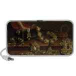 Casket of jewels on a table iPod speakers