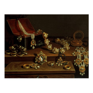 Casket of jewels on a table postcard