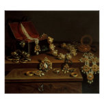 Casket of jewels on a table poster