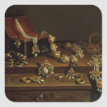 Casket of jewels on a table square sticker