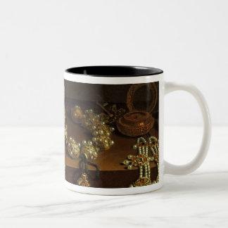 Casket of jewels on a table Two-Tone coffee mug