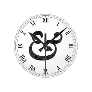 Caslon Bold Italic Ampersand Black Round Clock