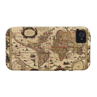 Caso 1635 del iPhone 4 del mapa de Viejo Mundo del Vibe iPhone 4 Fundas