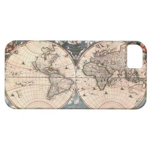 Caso 1664 del iPhone 5 del mapa del mundo del vint iPhone 5 Case-Mate Cárcasa
