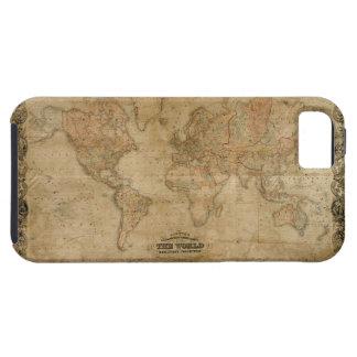 Caso 1847 del iPhone 5 del mapa del mundo del oro Funda Para iPhone SE/5/5s