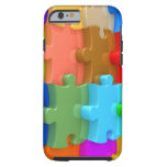Caso 3D Puzzl multicolor del iPhone 6 de la Funda De iPhone 6 Tough